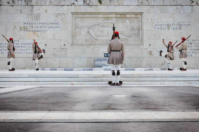 Changing the Guard in front of the Tomb of the Unknown Soldier, in Athens Athens Capital Cities  Culture Greek Parliament Greek Symbols Guard Military Outdoors Syntagma Square Tradition Uniform