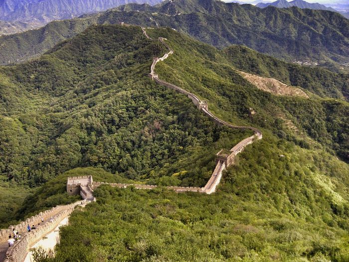 High Angle View Of Great Wall Of China