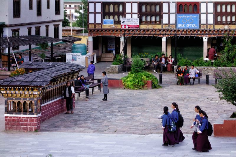 Bhutan Thimphu Adult Adults Only Architecture Bhutan Building Exterior Built Structure Day Large Group Of People Men Mixed Age Range Outdoors People Real People Streetlife Travel Destinations Women