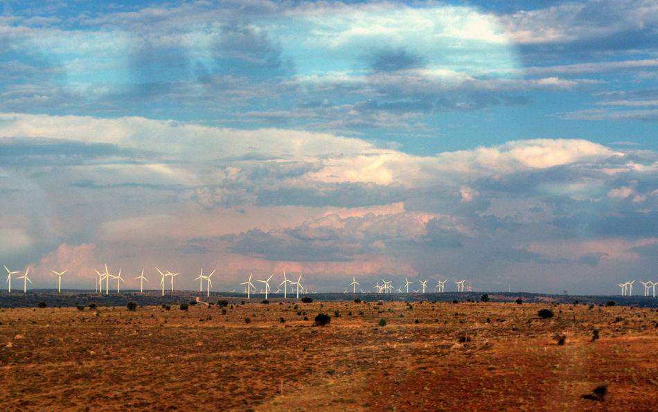 Arid Climate Cloud - Sky Cloudscape Distant Dramatic Sky How Do We Build The World? Outdoors Sky View View From Train Window Wind Farm Wind Mills Lanscape Landscape_photography