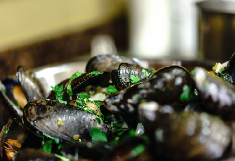 Close-up of mussels served in bowl