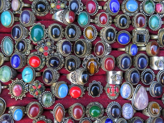 Rings I Bought In Istanbul Multi Colored Pattern Variation Large Group Of Objects FlorenceItaly Pietre Anelli Artigianato Craftsmanship