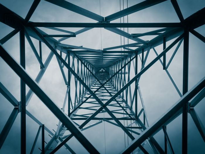 Architecture Baiona Blues Built Structure Close-up Connection Cyan Cyanotype Cyanotype Print Day Electric Low Angle View M Metal No People Pattern Power Line  Pylon Sky EyeEmNewHere