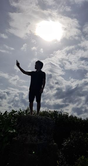 'Selfie' Full Length Standing Silhouette Men Sky Cloud - Sky HUAWEI Photo Award: After Dark