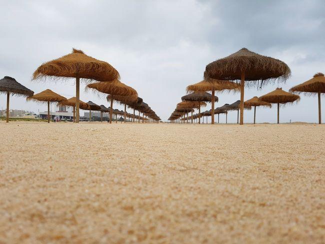 On the beach EyeEm Selects Sand Dune Sea Beach Sand Summer Desert Thatched Roof Sky Sunshade Beach Umbrella Coast