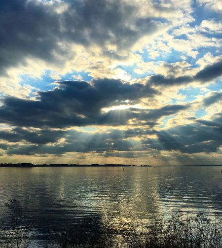 beams of xmas joy Water Scenics Cloud - Sky Tranquility Beauty In Nature Tranquil Scene Nature Sky Sea No People Outdoors Idyllic Sunset Day Horizon Over Water