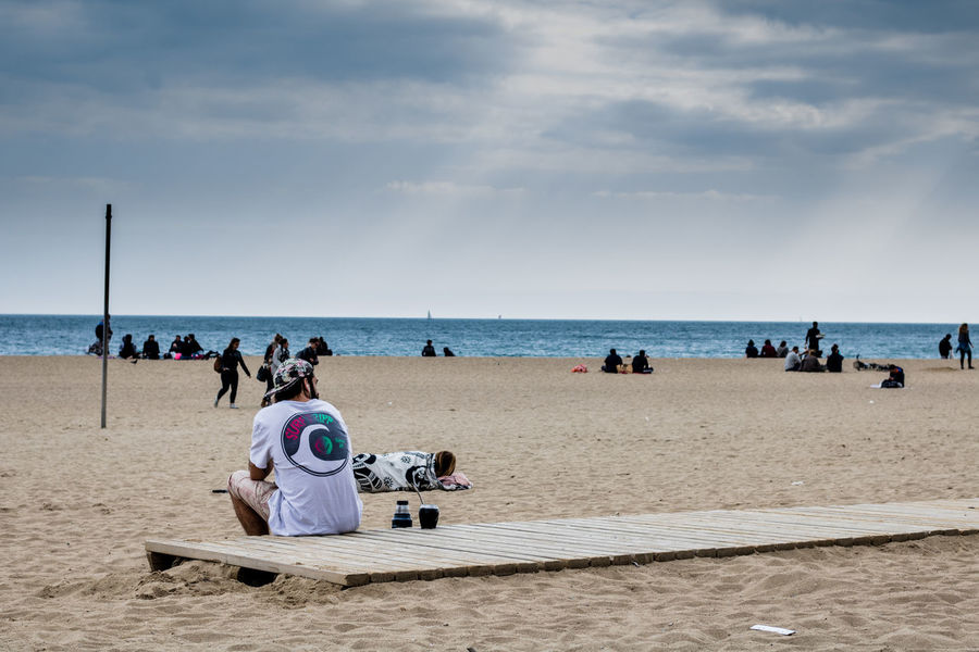 Beach Sea Sand Horizon Over Water Rear View Summer Outdoors Togetherness Sky Vacations People Adult Nature Beauty In Nature Day Mate Matera Drinking Yerba Mate Snapshots Of Life Skateboarding Urban Exploration Barcelona SPAIN Dude