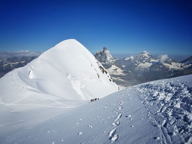 The Breithorn and the Matterhorn in the background Mountains Matterhorn  Zermatt Snow Mountaineering Mountaineers Majestic Landscape Peaks
