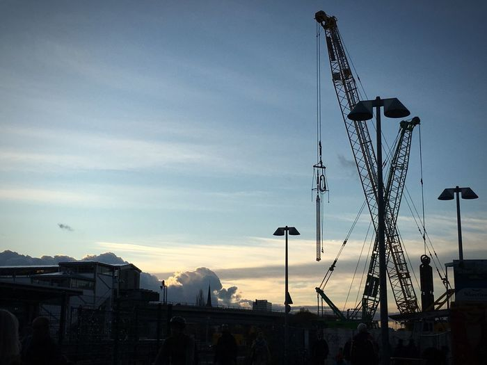 Silhouette of cranes against sky