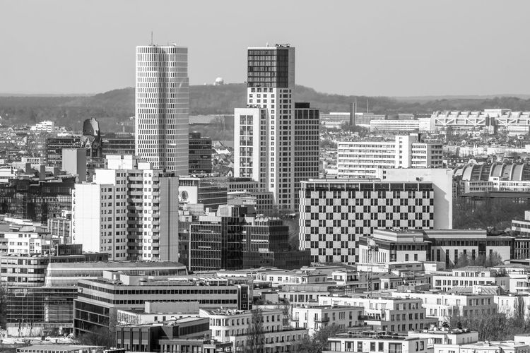Architecture Berliner Ansichten Black & White Building Exterior Built Structure Capital Cities  City Cityscape Clear Sky Day Devils Hill Modern Modern Architecture No People Outdoors Sky Skyline Skyscraper Teufelsberg The Architect - 2017 EyeEm Awards West