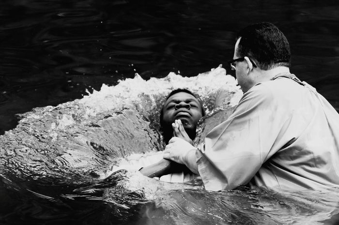 Water Mature Adult Two People Men Adult Smiling Happiness People Mature Men Cheerful Togetherness Day Enjoyment Males  Outdoors Real People Baptism Black White Holy Christian Religion River Immersion EyeEmNewHere Black And White Friday