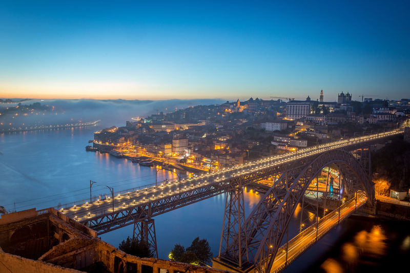 Douro  Architecture Bridge Bridge - Man Made Structure Building Exterior Built Structure City City Life Cityscape Connection Eiffel High Angle View Illuminated Nature No People Outdoors River Sky Transportation Travel Destinations Water