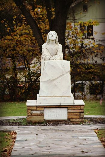 Jesus Statue Jesus Jesus Christ Jesus Christ My Savior  Jesus Saves JesusSaves Art And Craft Creativity Day Human Representation Jesuschrist Male Likeness Nature No People Outdoors Park - Man Made Space Religion Religious  Religious Architecture Sculpture Statue Stone Material Tree