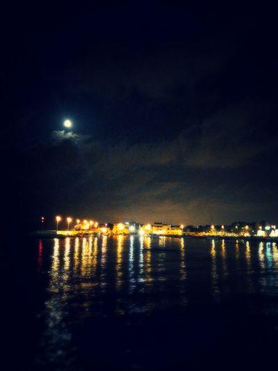 Light And Shadow Moonlight Luci Ombre Porto Notte Costa Città Di Mare Sea