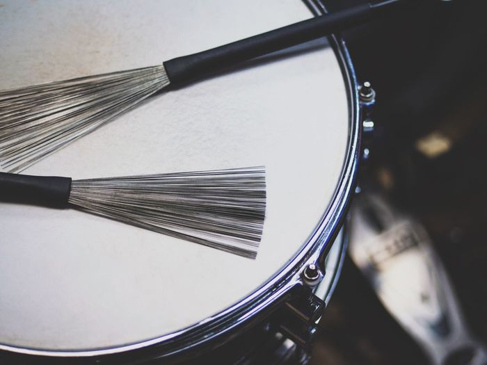 Close-up No People Indoors  Day Drummer Jazz Music Jazz Wire Brush Drum Kit Cymbal Focus On Foreground Drumstick Music Drum - Percussion Instrument Musical Instrument