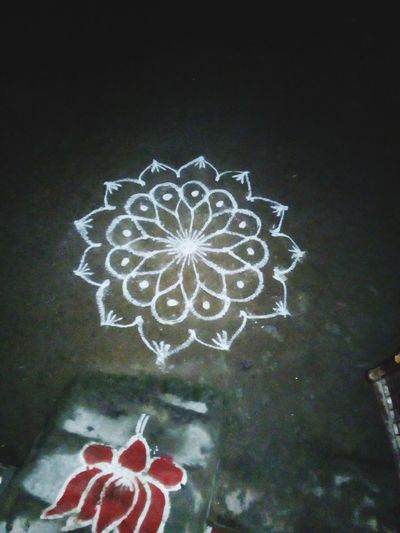 "Art using rice flour"" Kolam Rangoli Rice Flour Art Tradition Traditional Cultures Tamilnadu India Decoration Festival Festival Season Festive Tree Drawing - Art Product"
