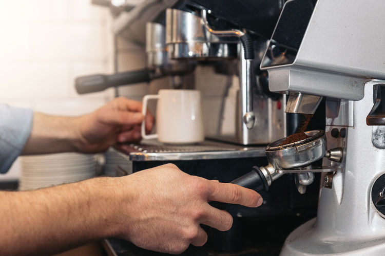 Barista Coffee Making Coffee Concept Business Hot Machine Service Steam Work Barista Cafe Close-up Coffee Coffee Cup Coffee Shop Cup Drink Hand Indoors  Job Machinery Mug Occupation People person Preparation  Professional Restaurant