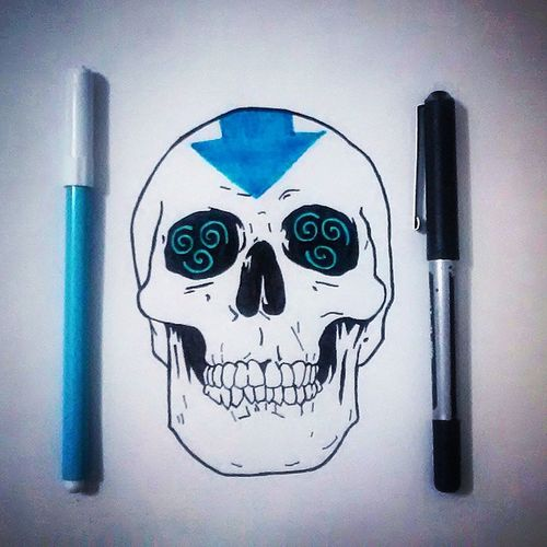 Dibujo Drawing Illustration Art Creative Skull Leyend Avatar Air Wind Aang Korra Nick