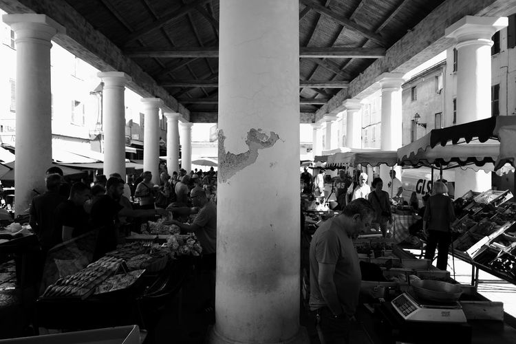 Marketplace City Architectural Column Architecture Built Structure Crowd Day Food Group Of People Indoors  Lifestyles Market Market Stall Men Occupation People Real People Retail  Standing Street Street Photography Streetphotography Women