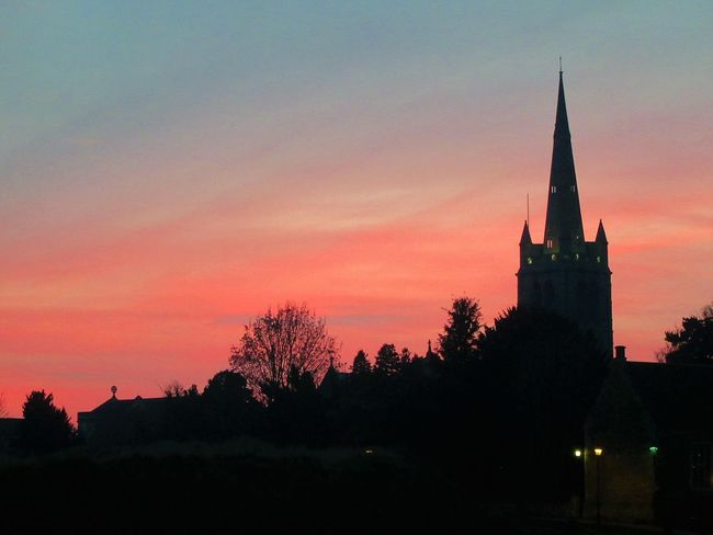 Oakham Church at sunset Architecture Built Structure Church Outdoors Place Of Worship Religion Romantic Sky Silhouette Sky Spire  Steeple Sunset Tree