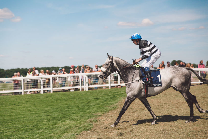 Competition Competitive Sport Day Domestic Animals Epsom Downs Racecourse Full Length Grass Horse Horse Racing Horseback Riding Jockey Livestock Mammal Men Nature One Person Outdoors People Real People Riding Running Sky Sport Sports Race Sports Track