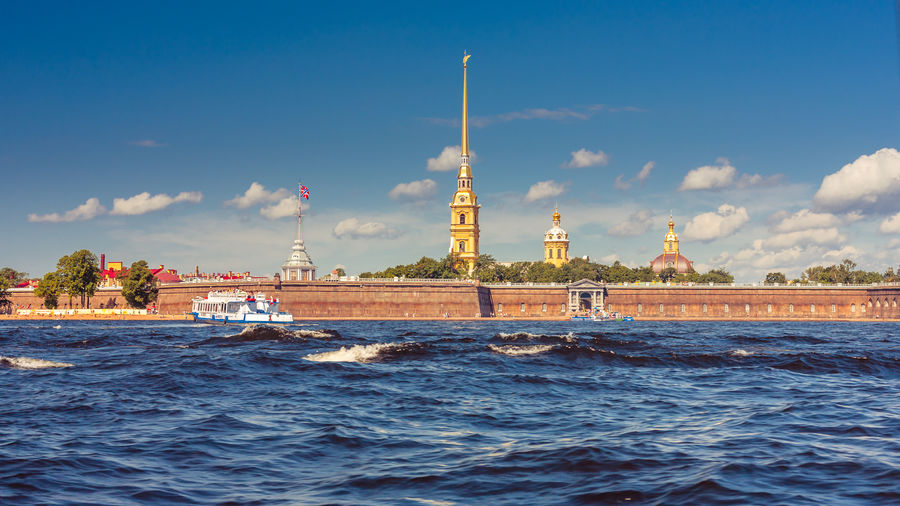 Architecture Boat Cloud - Sky Copy Space Neva River Outdoors Peter And Paul Cathedral Peter And Paul Fortress River Russia Saint Petersburg Sky Summer Sun Travel Destinations Water Wave The Essence Of Summer