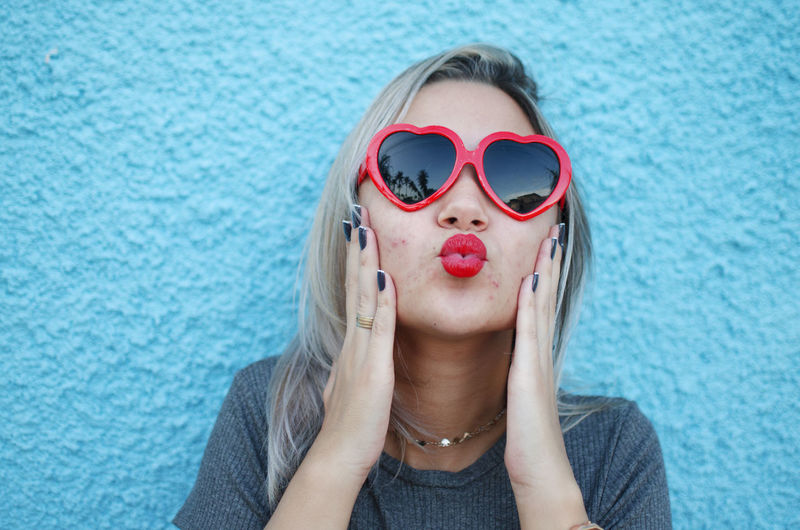 One Person Glasses Front View Headshot Portrait Women Sunglasses Hair Fashion Real People Leisure Activity Young Adult Lifestyles Day Adult Hairstyle Beautiful Woman Close-up Blue Heart Red