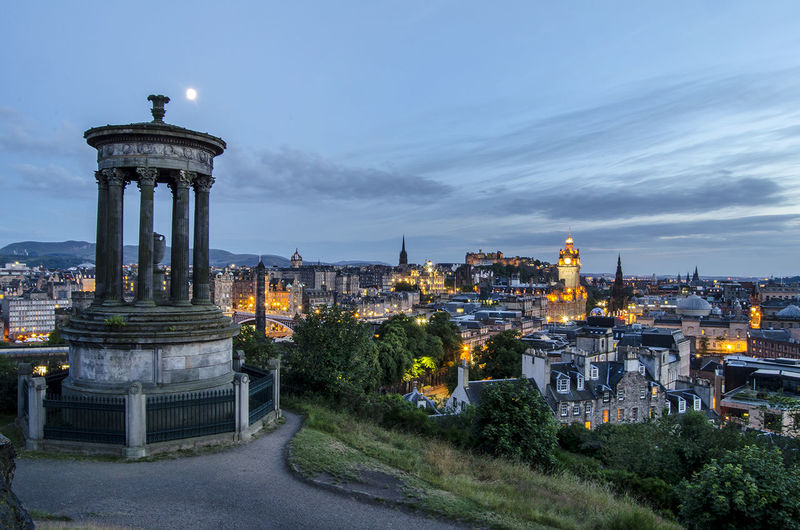 Calton Hill, Edinburgh, Scotland Architecture Business Finance And Industry Calton Hill Capital Cities  City Cityscape Clock Edinburgh Holiday Illuminated Light Long Exposure Moon Night Night Lights Nightphotography No People Outdoors Scotland Sightseeing Sky And Clouds Tourism Tranquility Travel Destinations Traveling