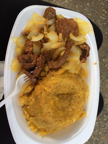 Beef Bistec Bistek Close-up Comida Latina Food Food And Drink Hispanic Food Latin Food Main Course Meal Mofongo Plantain Serving Size Temptation