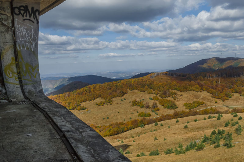 Buzludzha Beauty In Nature Bulgaria Buzludzha Monument Interior Cloud - Sky Day Landscape Mountain Mountain Range Nature No People Outdoors Scenics Sky Tranquil Scene Tranquility Tree