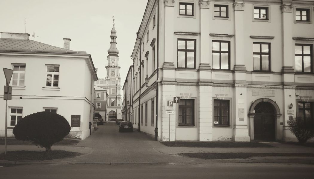 Starówka Town Old Buildings Street Ratusz Town Hall Monochrome Black And White