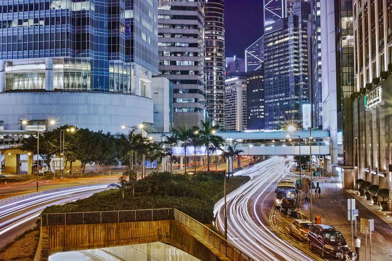 Trail Cartrail Nightphotography Central HongKong Illuminated Architecture Transportation Night City Cityscape Skyscraper