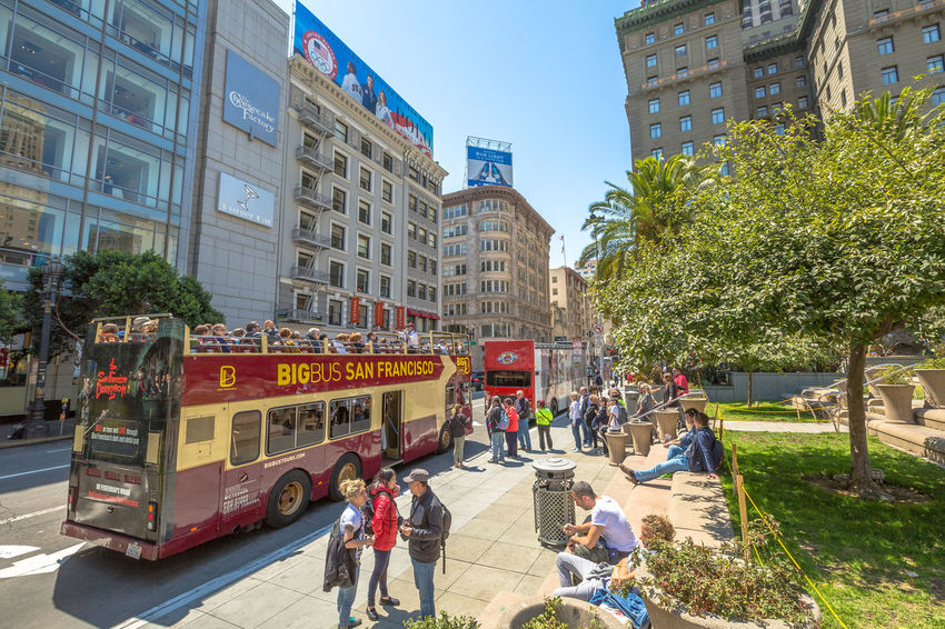 San Francisco, CA, United States - August 17, 2016: crowds of tourists in the popular Union Square, the central square of San Francisco on Market Street, known as the place shopping and luxury hotels. San Francisco, California, United States - August 17, 2016: the Big Bus, Hop On Hop Off, Sightseeing Tour, the popular double-decker bus carrying tourists, standing in Union Square, during a day tour. Cable Car California Market SF San Francisco Square Union Union Square SF United States Architecture Building Exterior Built Structure Bus City Day Double-decker Bus Land Vehicle Large Group Of People Market Street San Francisco Market Street Men Mode Of Transport Outdoors People Public Transportation Real People Road Sky Street Transportation Tree Union Square  Unionsquare Women