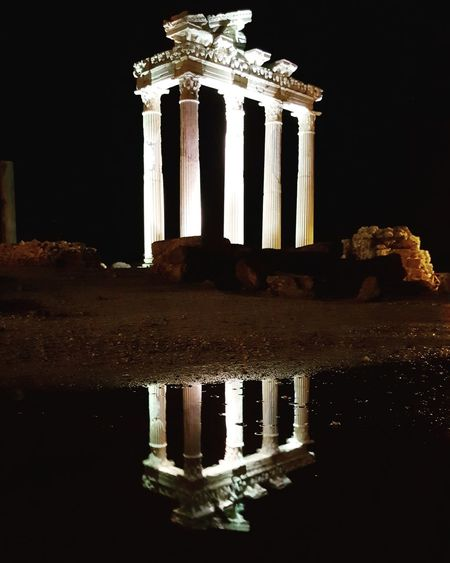 Antalya Side Apollon Tapınağı Night Architectural Column History Monument Travel Destinations Old Ruin Reflection Architecture Tourism Built Structure Travel Statue Illuminated Ancient Civilization No People Sculpture Sky Outdoors King - Royal Person First Eyeem Photo