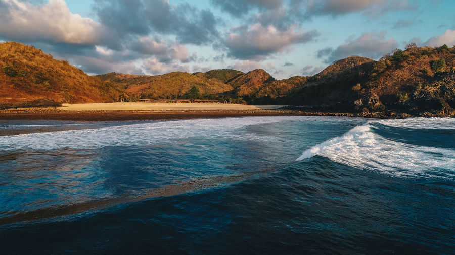 Drone  Beauty In Nature Cloud - Sky Crashing Waves  Day Dronephotography Mountain Nature No People Outdoors Scenics Sea Sky Tranquil Scene Tranquility Water Waterfront Waves Waves, Ocean, Nature