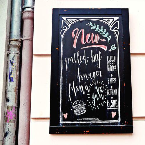 NEW 🍔🍔🍔 ...sounds good 👍 Text Communication Typography & Design Inspirations Everywhere. Streetphotography Views Berliner Ansichten EyeEm Gallery EyeEmNewHere Urban Lifestyle Berlinlove Neighborhood Map Views From The Sidewalk Berlin Colour Of Life Creativity Street Facades Food Art Is Everywhere Built Structure Kreuzberg