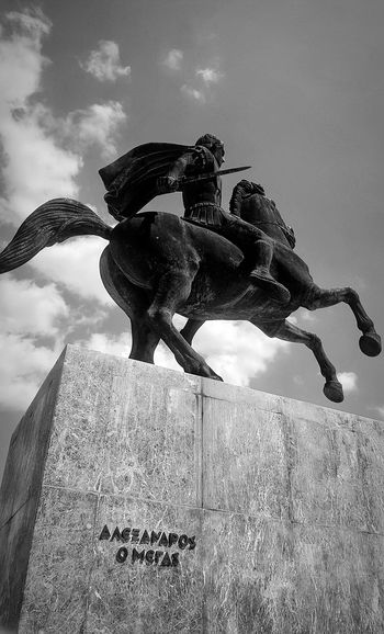 Alexander the Great Blackandwhite Bnw Statue Alexanderthegreat Horse HERO Warrior Nationalhero Greek Sky Close-up Sculpture Horseback Riding