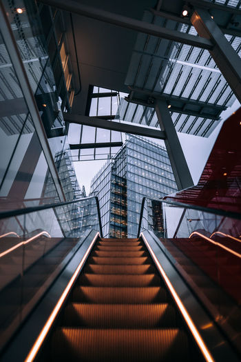 Architecture Building Built Structure Ceiling Convenience Day Direction Escalator Glass - Material Indoors  Low Angle View Metal Modern No People Railing Staircase Steps And Staircases The Way Forward Transparent