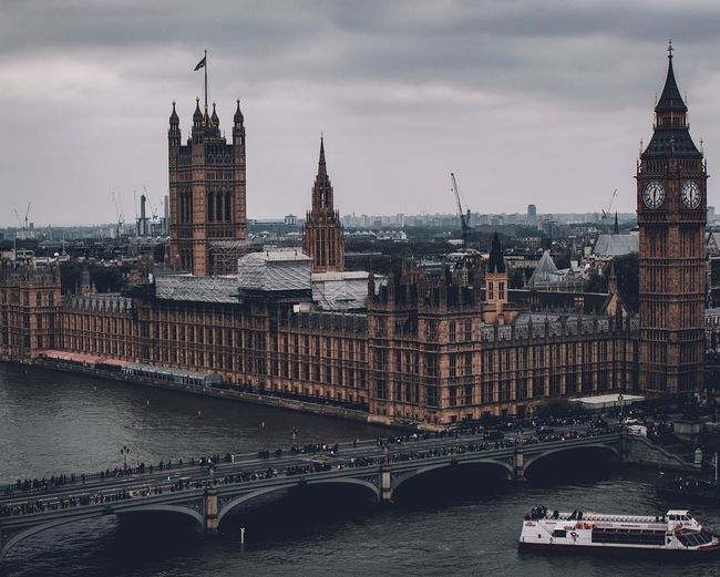 Big Ben Bigben Big Ben Big Ben, London Mood Moody Sky Moody Trapping  VSCO Vscocam Vscogood Vzcomood Vibrant Colors Aerial View Aerial Shot Aerial Photography Travel Destinations Politics And Government City Cityscape Urban Skyline Clock Tower Government Politics Bridge - Man Made Structure Clock Cultures Gothic Style Houses Of Parliament - London City Of Westminster Parliament Building