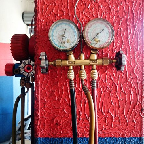 Appliance Gas Appliance High Low And High Low Angle View Mechanical Workshop Red