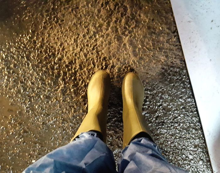 One Person Personal Perspective Rubber Boots Wellington Boots Uniform Canals And Waterways Antwerpen Antwerp Belgium Mud