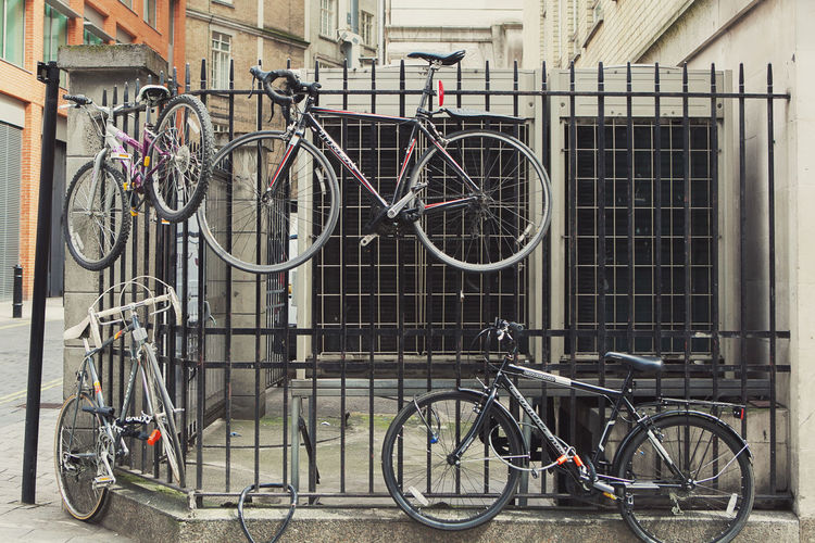 Bicycles on bicycle in city