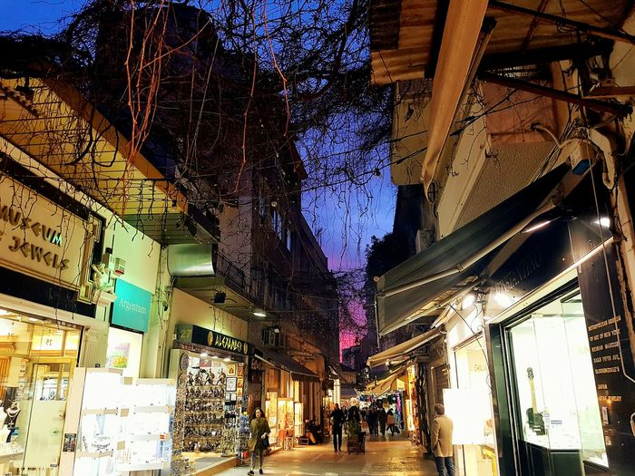 Illuminated Built Structure Architecture Building Exterior No People Sky Outdoors Day Athens Street Photography AthensByNight Travel Destinations Athens Athens, Greece Architecture Sunset Dusk Night Greece Real People Colour Your Horizn