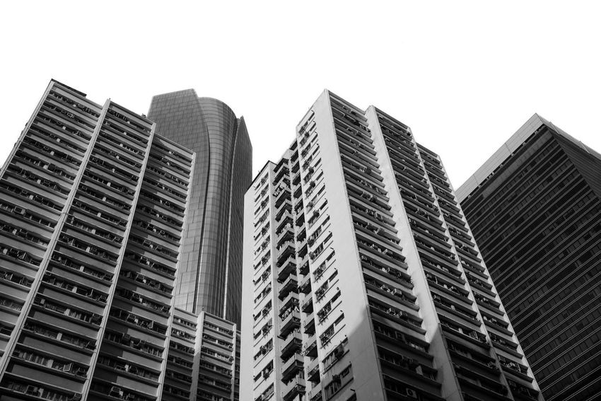 Monochrome views. Apartments Architecture Black And White Building Exterior Buildings Built Structure City Cityscape Clear Sky Day Design Exterior Design Hong Kong Architecture Low Angle View Modern Modern Architecture Modern Design Monochrome No People Outdoors Silhouette Silhouettes Of A City Skyline Skyscraper