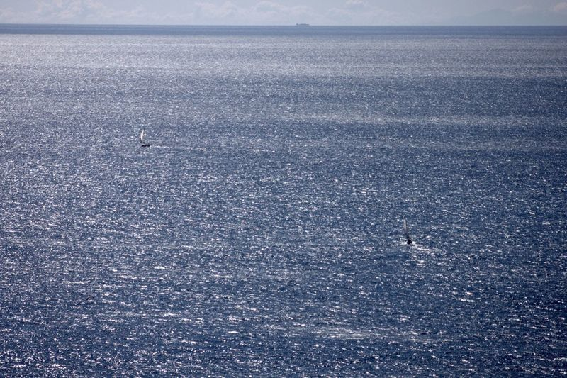 High angle view of boating in calm sea