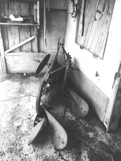 Old horse plough Farming Tools Antique Horses Horse Ploughing Indoors  High Angle View Still Life Day