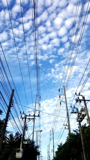 Cable Sky Cloud - Sky Low Angle View Power Line  Connection No People Electricity  Technology Day Electricity Pylon Telephone Line Nature Outdoors Tree Parallel On The Way On The Road Way To Heaven Way To Go Home Way To Work Blue Sky