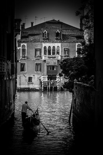 Venice in Black and White Architecture Blackandwhite Photography Building Canal City Day Dreamy Framed Gondola Hight Contrast Outdoors Residential Building Venetian Water