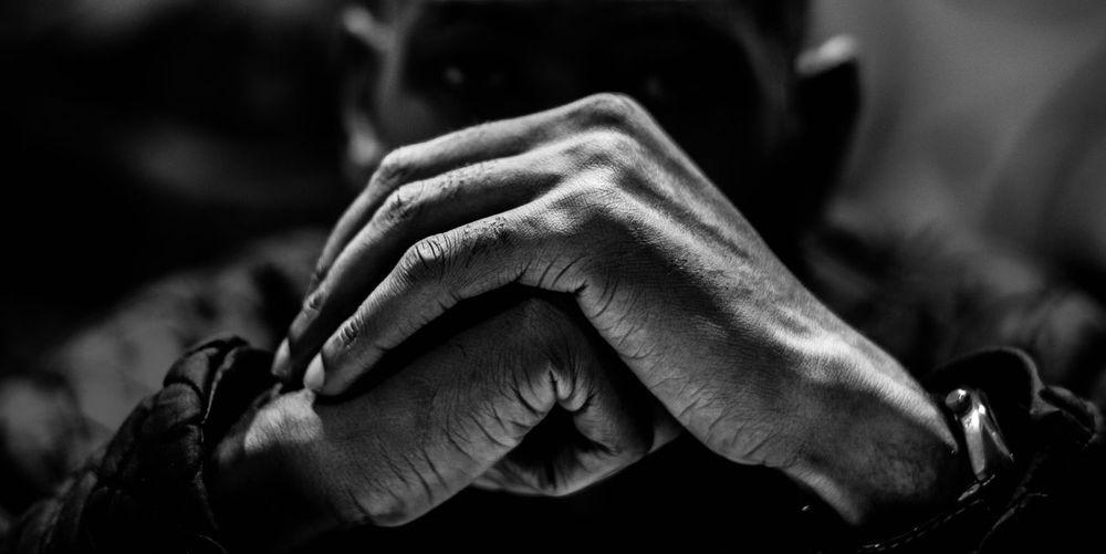 Close-up of man hands