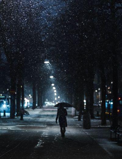 Rear view of man walking on street at night